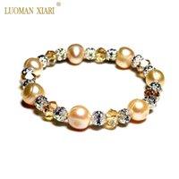 Оптовая натуральный розовый пресноводный жемчужный браслеты браслеты для женщин с хрустальным цирконом шариковины эластичности ювелирные изделия подарок 18,5-19см бисером, Stran