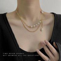Łańcuchy Sztuczne Pearl Kobieta Naszyjnik Tassel Proste Naszyjniki Kobiety Łańcuch Wisiorek Biżuteria Złoty Kolor Modne Koreańskie Collares