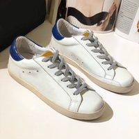 Moda Homens Mulheres Old Style Sneakers Couro Genuíno Sapatos Casuais Mens e Senhoras Dourado Cinco-Pontilhado Estrela Shoe Shoe Tamanho 35-44 Q-38