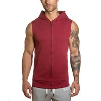 Men High Overcoat Fitness Vest Bodybuilding Tank Top Muscle Sleeveless Hoodies Zipper Undershirt Stringer Clothing Men's Vests