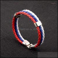 Charm Jewelrycharm Bracelets Russia Spain Bracelet France Brazil Flag Leather Team Mens Football Fans Unisex Bangle Jewelry1 Drop Delivery 2