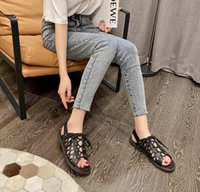 Fashion-Women Sandals Luxury Designer Lady slippers Lace-up casual Roman hollow sandal women design shoes Leather flat slipper with LOGO beautiful
