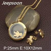 Earrings & Necklace Fashion Stainless Steel Boy And Girl Jewelry Two Colors Pendant Earring Sets For Women SBJJABCE