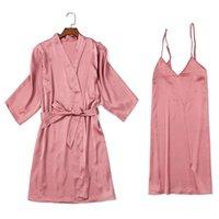 Women's Sleepwear Sexy Female Silk Robe Gown Set Spring Kimono Bathrobe Lace Wedding Lingerie Night Dress Home Suit