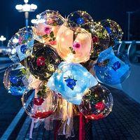 Led luminoso palloncino rosa bouquet trasparente bolla incantata rose con bastone led bobo palla San Valentino giorno regalo decorazione della festa nuziale 496