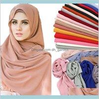 Cuerpo de alta calidad Chiffon Hijab Scarf Shawls Muslof Muslim Fashion Llany Wraps Headband Largo Scarvesscarf V0HNQ Bufandas Kaz4w