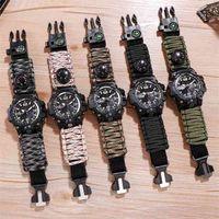 Aventura ao ar livre Assista Bússola Lighte Relógios Homens Quartzo Eletrônico Luminous Relógio 5BAR Relógio Impermeável Nylon Upgrade Strap 210407