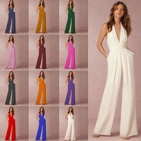 Summer Jumpsuits Creative Women's Dress Fashion Solid Color Sexy Sleeveless Halter Pocket Loose Jumpsuit