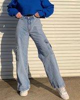 Women's Jeans Woman Streetwear High Waist Wide Leg Straight Pants For Women Cut-out Oversize Boyfriend