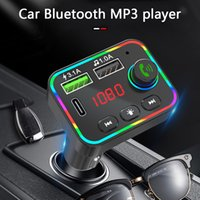 F4 Car Bluetooth FM Transmitter MP3 Player USB Charger Colorful Backlight Wireless FM Radio Adapter Hands Free for Phone TF Card