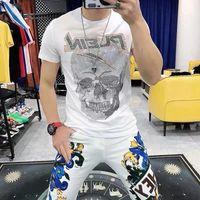 Moda Tee Skull Strass con Diamond Design T-shirt da uomo Estate Top Tees Mens Designer Designer Tshirst Luxury Ice Seta Silk Slim Fit Hip-Hop Alta qualità
