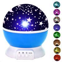 Baby Night Light Moon Star Projector 360 Graden Rotatie, 4 LED-lampen Kleur Veranderen met USB-kabel, cadeau voor kinderen Slaapkamer en feestdecoraties