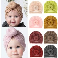 Baby Boys And Girls Indian CAP Waffle Wool Doughnut Cup Knitted Ball Hats Head Wear Cute Accessories