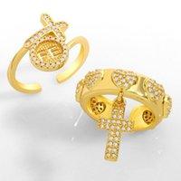 Flola الذهب vermeil القلب الصليب خواتم مفتوحة للنساء تشيكوسلوفاكيا مايكرو تمهيد حجر جولة صفعة الدائري للتعديل مكعب زركونيا مجوهرات Rigk14