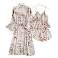 Women's Sleepwear Youtest Silk Pajamas Women Sexy 3pieces Robe Lingerie Set