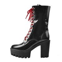 Boots Onlymaker primavera outono plataforma ankle boots preto couro de patente vermelho laço-up robusto sapatos salto alto zíper lateral para GDNR