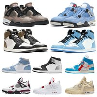Basketball-Schuhe Frauen Jumpman 1 1S OG High University Blue Hyper Royal Silver Toe gezüchtet Court Purple Obsidian UNC Segel 4 4s Taupe Haze schwarze Katze Männer Trainer Turnschuhe