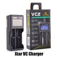 Autentico caricabatterie XTAR VC2 Caricabatterie Inteligent mod Dual Slot con display LCD per 18350 18550 18650 16650 Batterie agli ioni di litio 100% originale