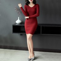 Casual Dresses Autumn Winter Sexy V Neck Knitted Dress Women 2021 Elegant Tight Fitting Stretch Long-Sleeved Sweater Ladys Party Club