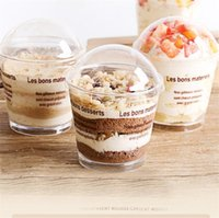 Cream 200ml Plastic Transparent Cup Tiramisu Ice Mousse Cake Cup Disposable Jelly Cup with Cover Pudding Dessert Sets Party Supplies