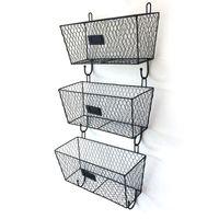 WACO WALMOUNT تخزين المطبخ الثلاثي ثلاثي، حامل ملف 3 قطع، سلة الرف المعدنية سلك، مكان عمل مكتب المنزل أو الحمام / غرفة النوم - أسود