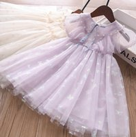 Fleurs Girls Filles Robes Princesse Enfants Perles Perlée Papillon Imprimé Gauze Robe 2021 Été Enfants Sleeve Vêtements A6490