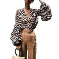Balloon Sleeve Blouse Stripe Printed Blouses Women Fashion Bell Long Sleeve Shirts Women Elegant V Neck Tops Fandy Lokar Zebra