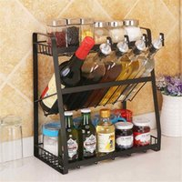 Hooks & Rails 3 Layers Kitchen Spice Rack 304 Stainless Steel Countertop Jars Bottle Shelf Organizer Black Storage Holder