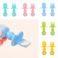 Утварь детская силиконовая ложка вилков набор кормления совок TeThher посуда короткая ручка цикл пищевой тарелка