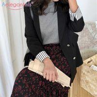 Aelegantmis Korean Casual Office Lady Women Blazer Jackets Black Double Breasted Loose Suit Coat Vintage Elegant Outwear 210607