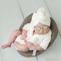 Bebé tirando fotos vestuário roupões de manga longa cor sólida dupla flanela espessa Bathrobe térmico + cinto + toalha / 3 pcs
