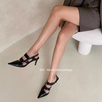 Spring and summer soft leather sandals breathable black hollow retro single shoes pointed high heels design sense temperament a word tie
