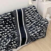 150x200cm Soft Black Designer Blanket Manta Pile Getti Divano letto Aereo Viaggi Plaids Asciugamani Coperte di asciugamano Lussuoso Regalo per bambini Adulto