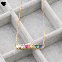 Rainbow CZ Bar Ожерелье Простая классическая мода Ювелирные Изделия Золото покрыто покрашено Цветные CZ Минимальные красочные ожерелья CZ 361 N2