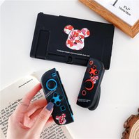 Cute Cartoon Violet Bear Silicone Cover for Nintendo Switch Portable Play Station Full Protective Soft Bumper Games Console Bracket Case Shockproof