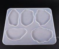 Achat Coaster Formen Silikonharz Formen 5 Hohlraum Flexible Translucenz UV Harzform DIY Tischdekoration Werkzeuge FWA4639