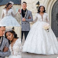 Princess Ball Gown Wedding Dresses Sheer V Neck 3D Appliques Lace Long Sleeve Bridal Gowns Puffy Floor Length Bride Dress