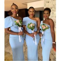 Blue Satin African Bridesmaid Dresses Modern 2021 One Shoulder Mermaid Wedding Guest Party Dress Country Boho Sweep Train Plus Size Maid Of Honor Gowns AL9565