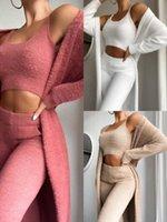 Fashion Women Casual Tracksuits Sexy Plush Warm Long Sleeve Cardigan Vest Pants Soild Color 3 Piece Suit