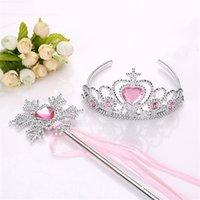 Ribbon Wands Crown 2 Pc Definir Fada Wand Girl Festa de Natal Snowflake Gem Sticks Magic Wands Headband Princesa Crown Tiara Colorido 855 v2