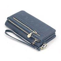 Wallets Women Wallet Leather Coins Purse Long Dull Polish Female Clutch Phone Bag Wristlet Zipper High Quality Card Holder