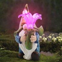 Garden Decoration Gnome outdoor solar lamp resin handicraft cartoon statue dwarf lantern floret
