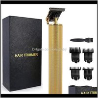 Care & Styling Tools Products Drop Delivery 2021 T9 Electric Razors Barber Cordless T-Outline Men Beard Trimmer Hair Cutting Hine 600Mah Gold