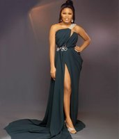 Beaded One Shoulder Prom Dresses with Sash Ruched Side Split Long Sweep Evening Party Gowns Sexy Robe De Marrige