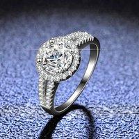 925 الفضة الاسترليني هالو الماس النساء 1 ct 100٪ جراه مويسانيت خواتم الخطبة مع حجر الجانبية الفرقة الزفاف غرامة مجوهرات