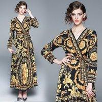 Kadınlar Yaz Londra Elbise Tatil Maxi Gevşek Sundress Çiçek Baskı V Yaka Uzun Kollu Elegante Elbiseler Kokteyl Parti Barok Bornoz