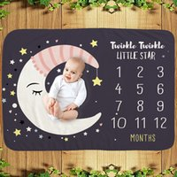 Kids Born Milestone Blanket Month Moon Star Background Flannel Child Baby Cover Blankets Name Picture Sublimation Warm Soft for Boy Girl
