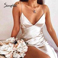 Simplee Sexy Tiefe V-Ausschnitt Frauen Party Kleid Elegante Sommer Damen Bodycon Spaghetti Strap Kleider Club Sleeveless Vestidos 210413