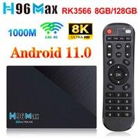 H96 ماكس 3566 مربع التلفزيون أندرويد 11 8 جرام 64 جرام 8 جيجابايت 128 جيجابايت rockchip RK3566 دعم 2.4 جرام 5 جرام wifi 8k 24fps 4 كيلو h96max media player 4g 32g