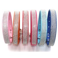 Dog Collars & Leashes Bling Diamante Rhinestone PU Leather Cat For Small Medium Dogs Chihuahua Yorkie 6 Colors Size S M L XL